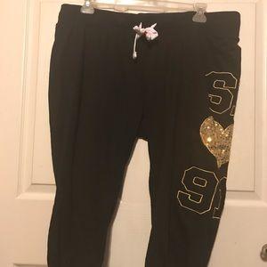 Pants - Women Terry Sweat Pants w/ draws Black/Gold 3X